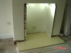 Fitting a plaster fireplace with honey creme marble hearth